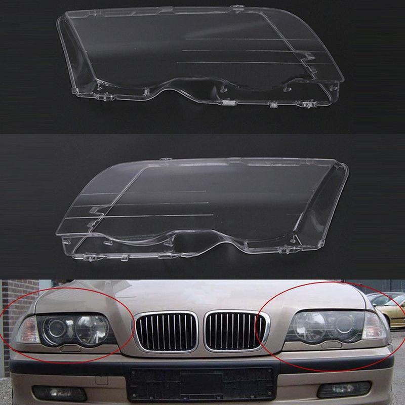 Far Lens Kapağı için 1 Çifti Sol Ve Sağ Far 1998-2001 4 ışık lamba Şeffaf Lens Kapağı İçin E46 3 Serisi baş