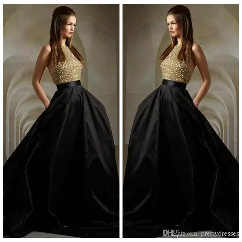 Halter A-Line Prom Dresses 2019 Bling Bling Sequins Top Formal Special Occasion Party Gowns Events Wear Cheap Black Skirt Long Custom