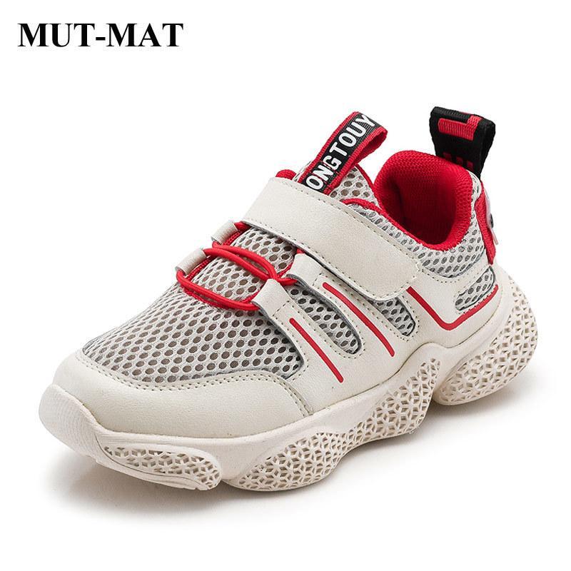 Zapatos de los niños Zapatos de las muchachas de los deportes de 2019 nuevas de la manera Otoño de color de contraste zapatillas de deporte suave inferior tamaño de los zapatos antideslizantes 26-37 T200421