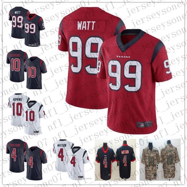 Houston, para jóvenes de los hombrestejanos4 Deshaun Watson 99 J.J. W y 10 DeAndre Hopkins blanco Armada Saludo al Servicio de fútbol jerseys