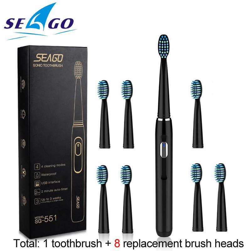 Brosse à dents électrique rechargeable Sonic de Seago avec 3 têtes de brosse de rechange Minuterie de 2 minutes 4 modes de brossage Sg551 J190627 imperméable
