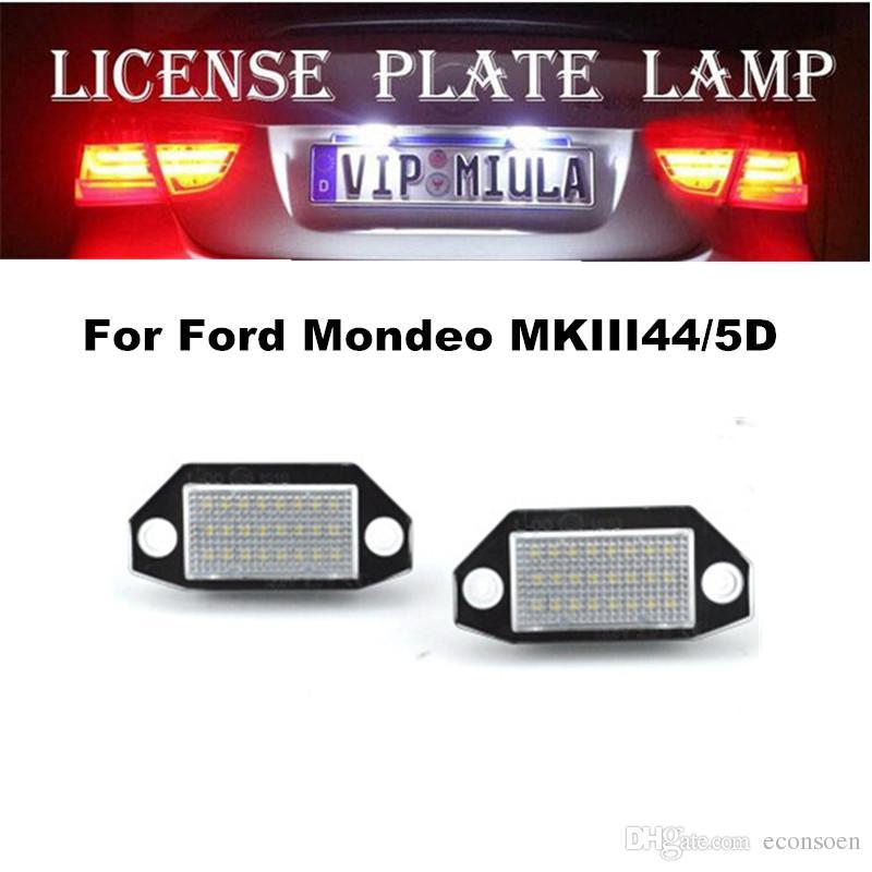 Para la lámpara Ford de la matrícula del LED 6500K 12V Blanco Color de la luz del coche LED para Ford Mondeo MKIII44 / 5D Tamaño 77x35x15mm accesorios del coche