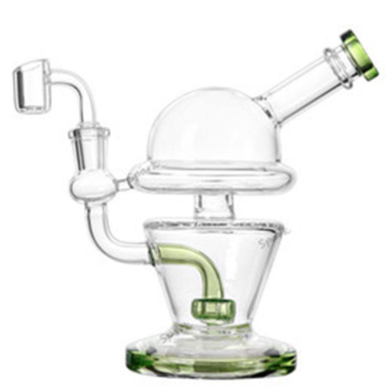 7 polegadas 440g UFO Bong vidro da tubulação de água Dab Rig taça Bong com 100% de quartzo Banger frete grátis