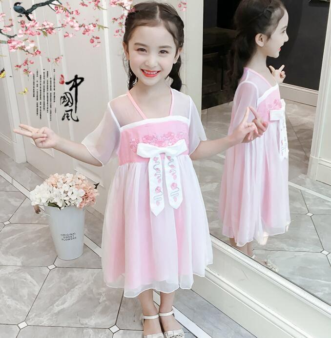 2019 girl Hanfu super fairy skirt Costume Chinese style summer children's dress Chiffon Light blue Pink Suitable for height 110-160cm