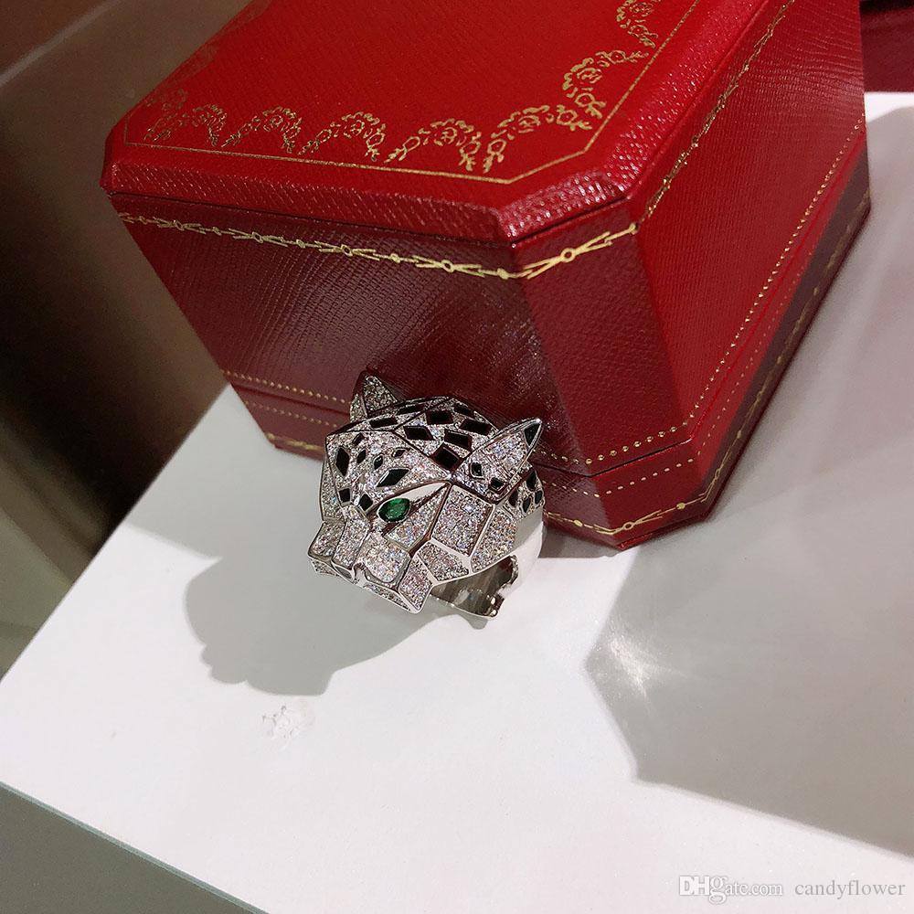 Designer mode en argent sterling S925 et pierre zircon cubique anneau léopard pavé 18K bijoux plaqué or pour les femmes ou les hommes