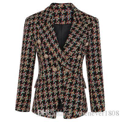 وصول المرأة الجديدة يمزج الصوف معطف مزدوجة الصدر الصوف قصير دعوى معطف أنثى الخريف الشتاء الملابس P760