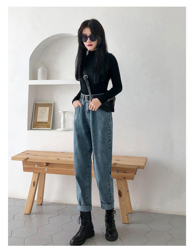 Lavender Tall Waist Straight Jeans Female Nine Points Kz