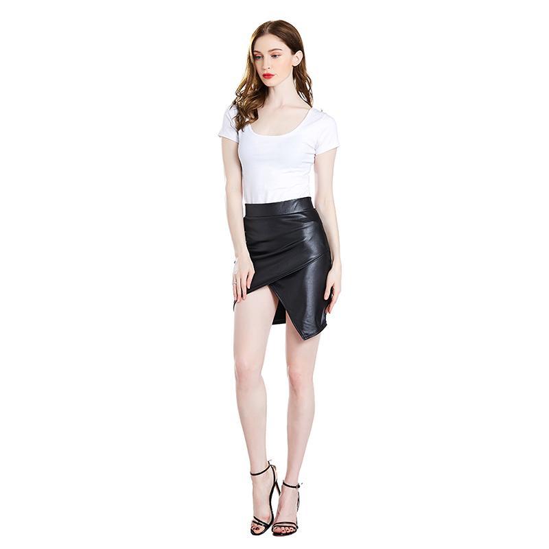 2020 Женщины Кожа PU Короткие юбки осень зима дамы пакет хип передней или задней щелевая юбка-карандаш