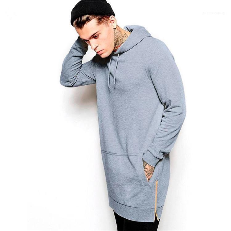 Outono Primavera cor sólida com capuz Mens Designer Hoodies Long Sleeve aptidão Casual Streetwear Masculino Moletons X-Long Mens Hoodies