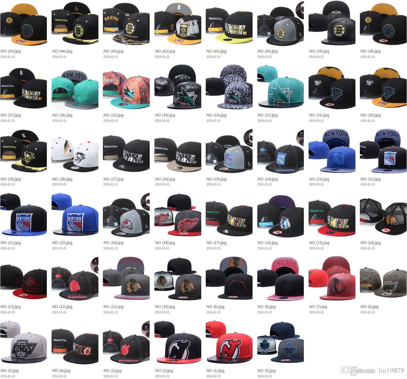 46 Arten NHL Baseballmützen Blackhawks Pinguine Flyers Haie Bruins Maple Leafs Mannfrauen tragen gorras Knochen Hysteresen-Hüte zur Schau