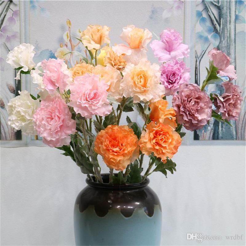 "Fake Hibiscus Mutabilis (3 stems/piece) 28.35"" Length Simulation Flocking Rose for Wedding Home Decorative Artificial Flowers"