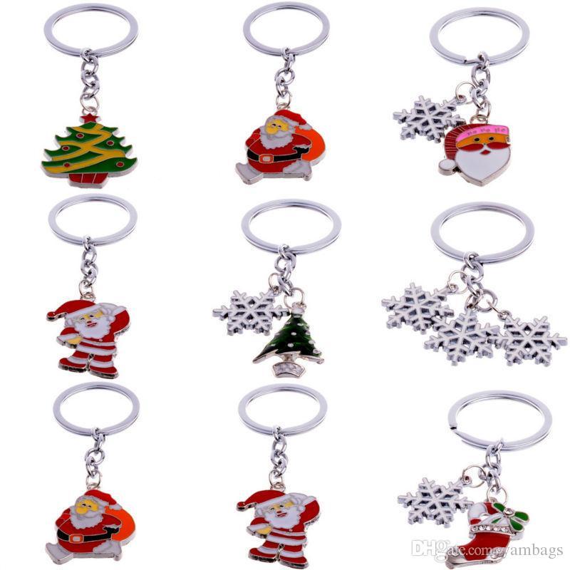 Porte-clés en métal porte-clés mode porte-clés pour voitures père Noël arbre bonhomme de neige flocon de neige porte-clés gouttes pendentif cadeau de noël ornements