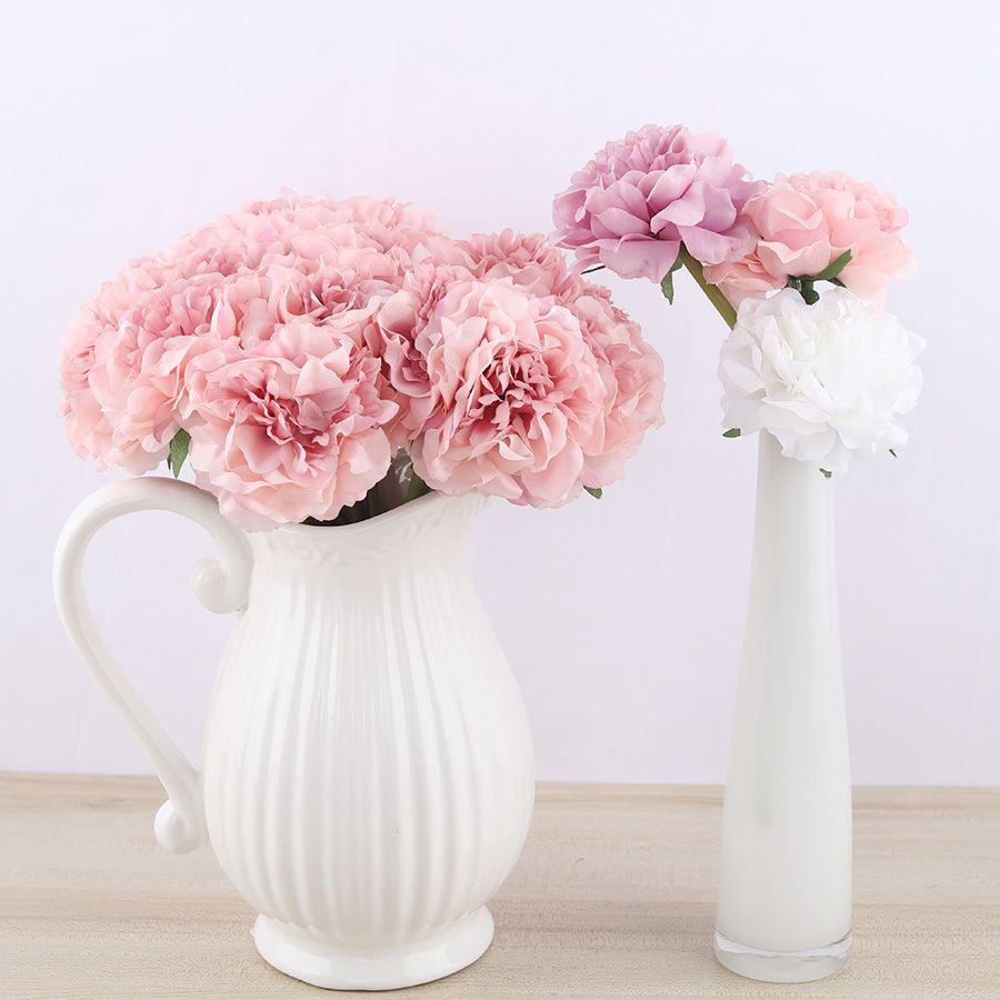 2 개 모란 실크 인공 흰색 꽃 꽃다발 장식 신부 웨딩 테이블 핑크 꽃 가짜 수국 저렴한 꽃