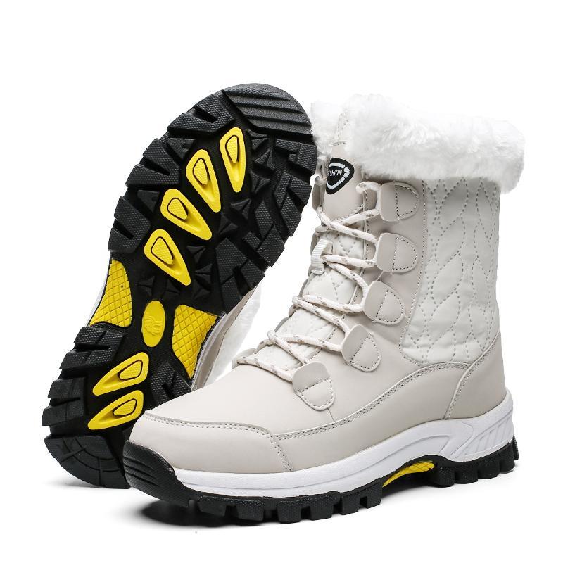 2019 Scarpe inverno di modo Donna Rosa Pelle Piattaforma Stivali Donna Snow Boots Lace Up piatto con pelliccia calda vendita calda Large Size