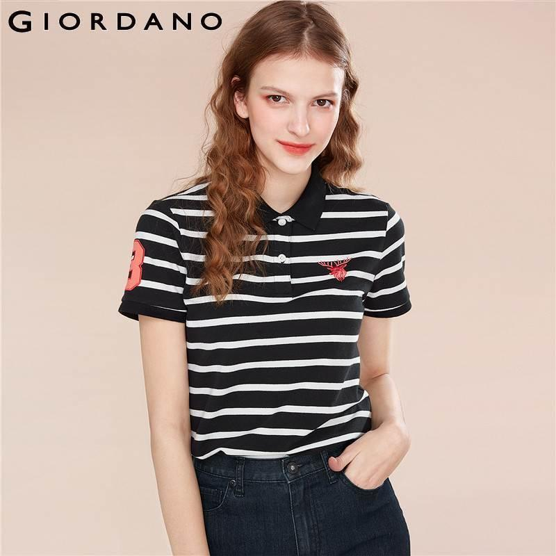 Giordano Women Polo Shirt Women Embroidery Deer Stretchy Short Sleeve Polo Women Cotton Spandex Causal Embroidered Polos Mujer Y19042004