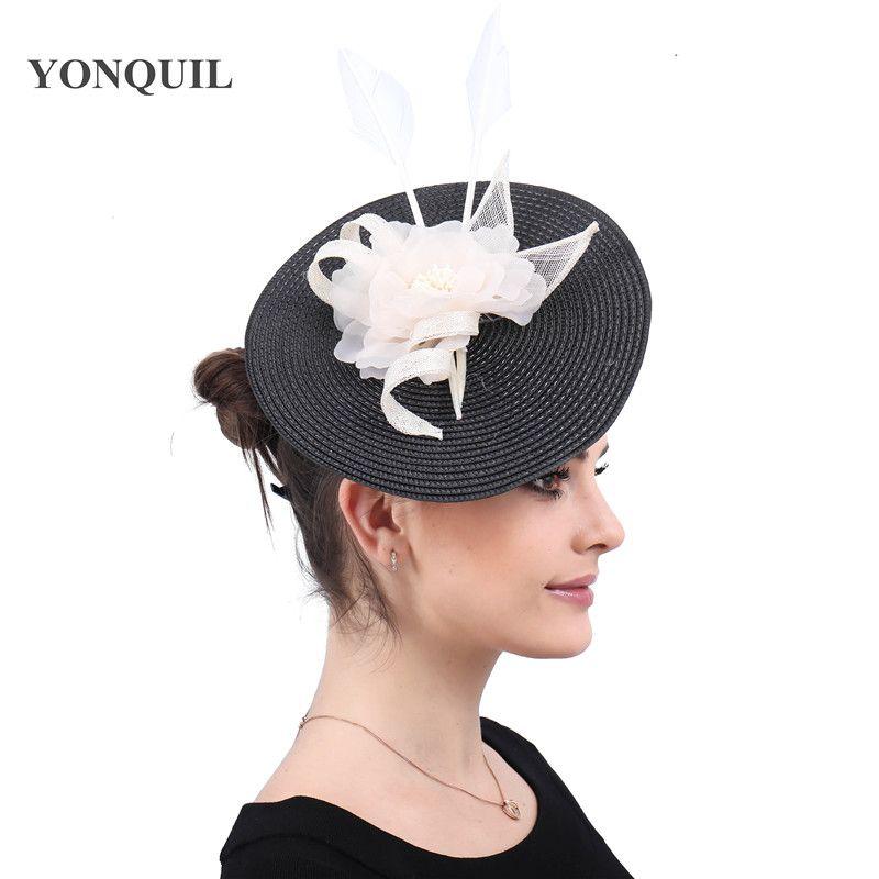 Women Lady Fashion Big Fascinator Hat Headbands Ladies bridal Married Cocktail Wedding Church Headpiece floral headwear SYF530