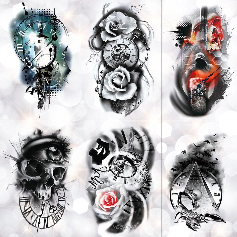 Дешевые Временные татуировки Family Rose Время часы Череп Temporary татуировки наклейки Scorpion башня водонепроницаемый татуировки Body Art Arm Поддельный Tatoo Мужчины