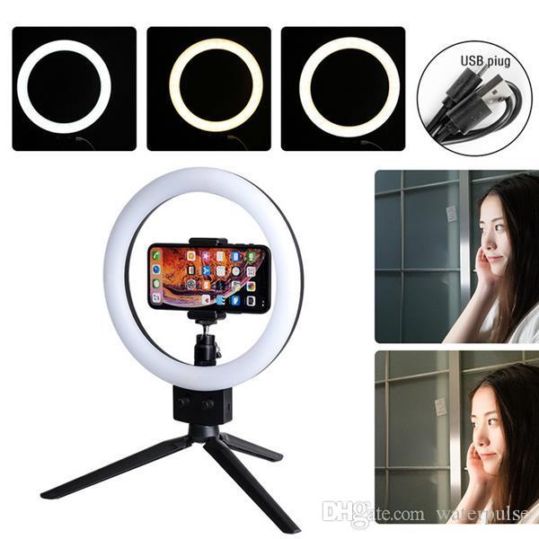 """Luzes de Selfie LED 7 """"LED com suporte de tripé para vídeo do YouTube e maquiagem mini LED luz da câmera com titular de telefone celular Desktop"""