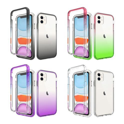 Híbrido de dos capas transparente gradiente de teléfono para el iPhone 11 Pro Max X XS MAX XR 8/7 6 6s Plus 2en1 200pcs protectora delgada cubierta para el / lot
