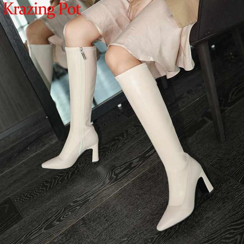 Krazing Pot İnternet yıldızı katı moda küçük kare ayak inek derisi streç çizmeler yüksek topuklu kış kadınlara uyluk yüksek çizmeler L06