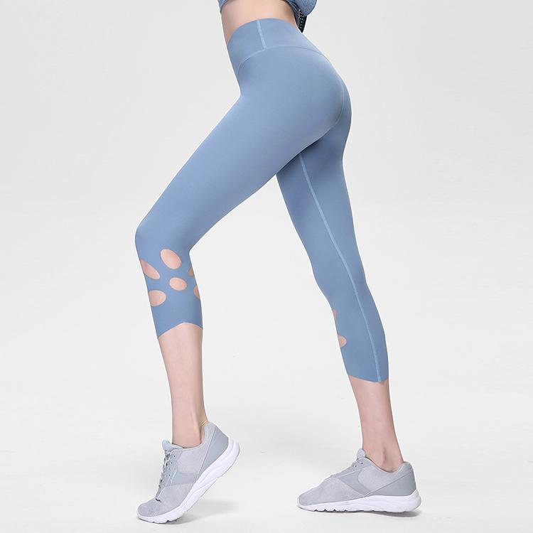cor sólida roupas trecho assentamento ioga Europa e os Estados Unidos verão novas calças de ioga nu de cintura alta de 7 pontos buraco oco esportes fi