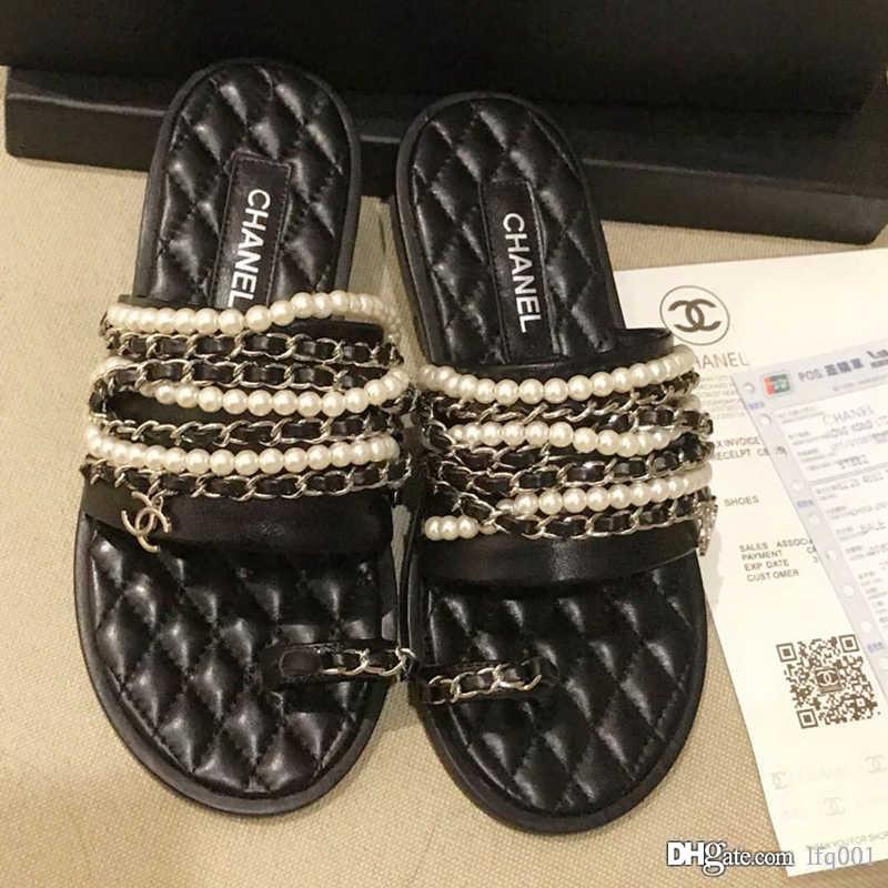 Новые женские Роскошные дизайнерские ботинки женщин сандалии горячего сбывания Pearl цепи декоративные тапочки Imported Кожа верхнего качества с коробкой 0,1