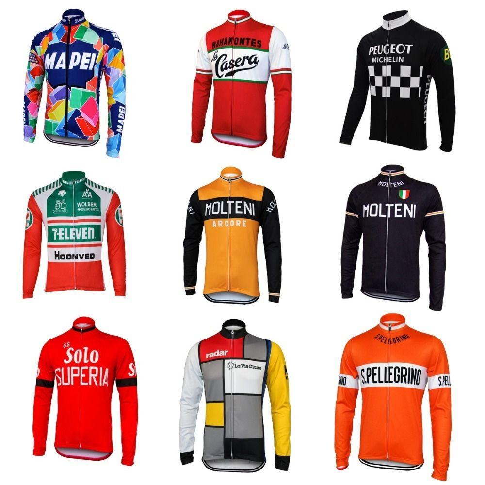 NEW molteni 모토 긴 소매 사이클링 저지 겨울 양털 울에는 양털 그린 오렌지 자전거 마모 가을 자전거 의류 빨간색 없다