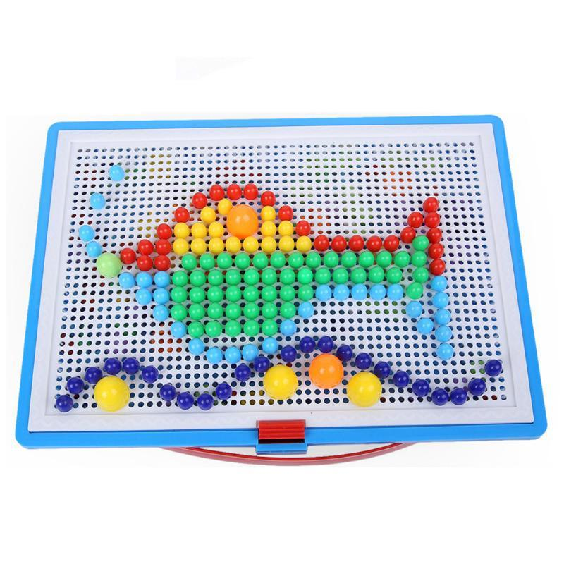 296pcs Creative Mosaic Puzzle Toys Mosaic Mushroom Nail Kits Nail Composite Picture Puzzle Education Toys for Children Xmas Gift