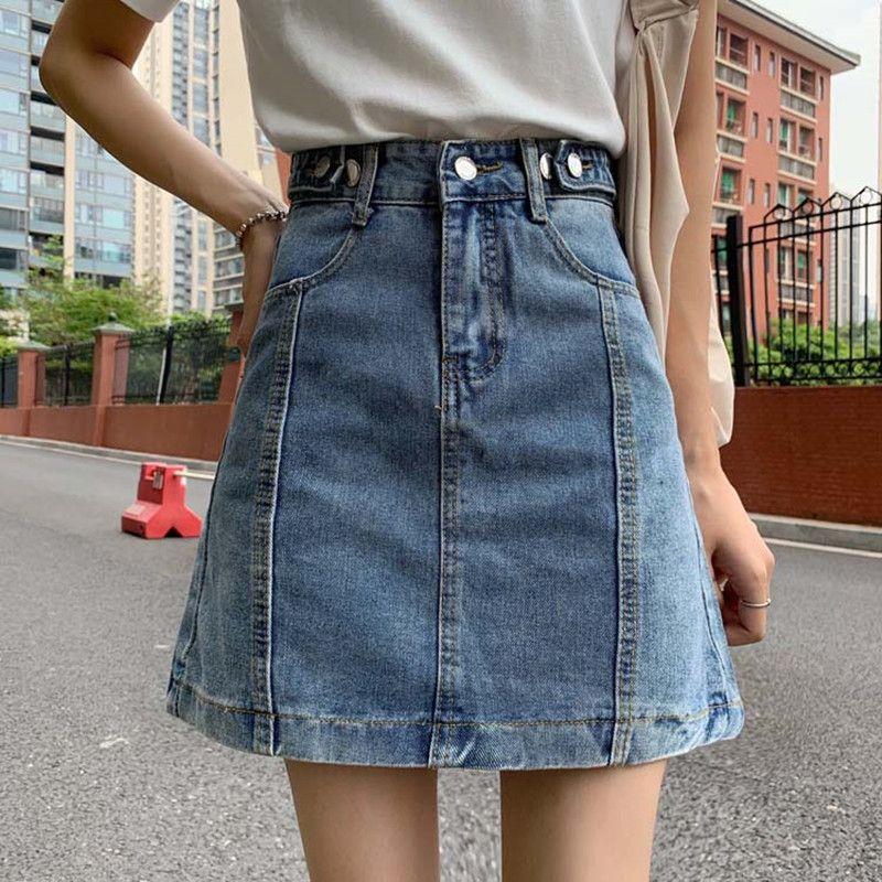 SML A saia jeans linha para as mulheres 2020 Primavera Verão cintura alta mini-saias jeans (F6652