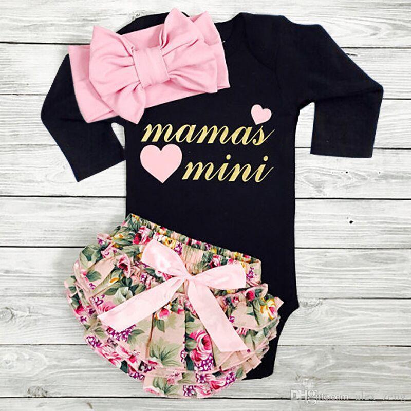 Frühling Herbst Kinder INS Sets Baby Mädchen Langarm Mamas Mini Brief Drucken Strampler + Blumendruck PP Pants + Stirnbänder 3 stücke Anzüge