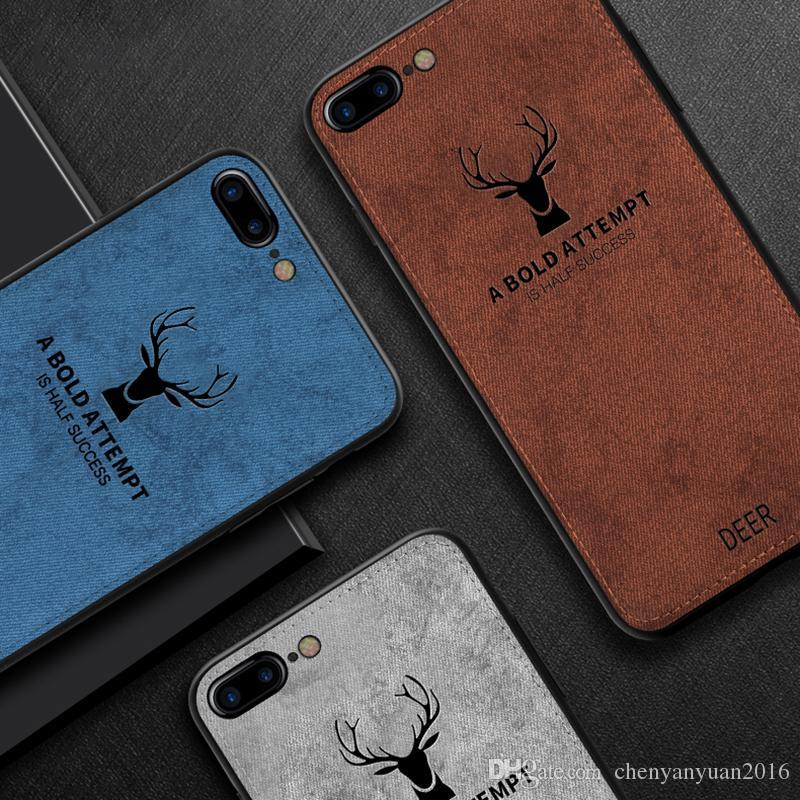 Para iphone 7 8 plus x xr xs max casos de telefone de textura de pano para protetor padrão de veados tampa traseira