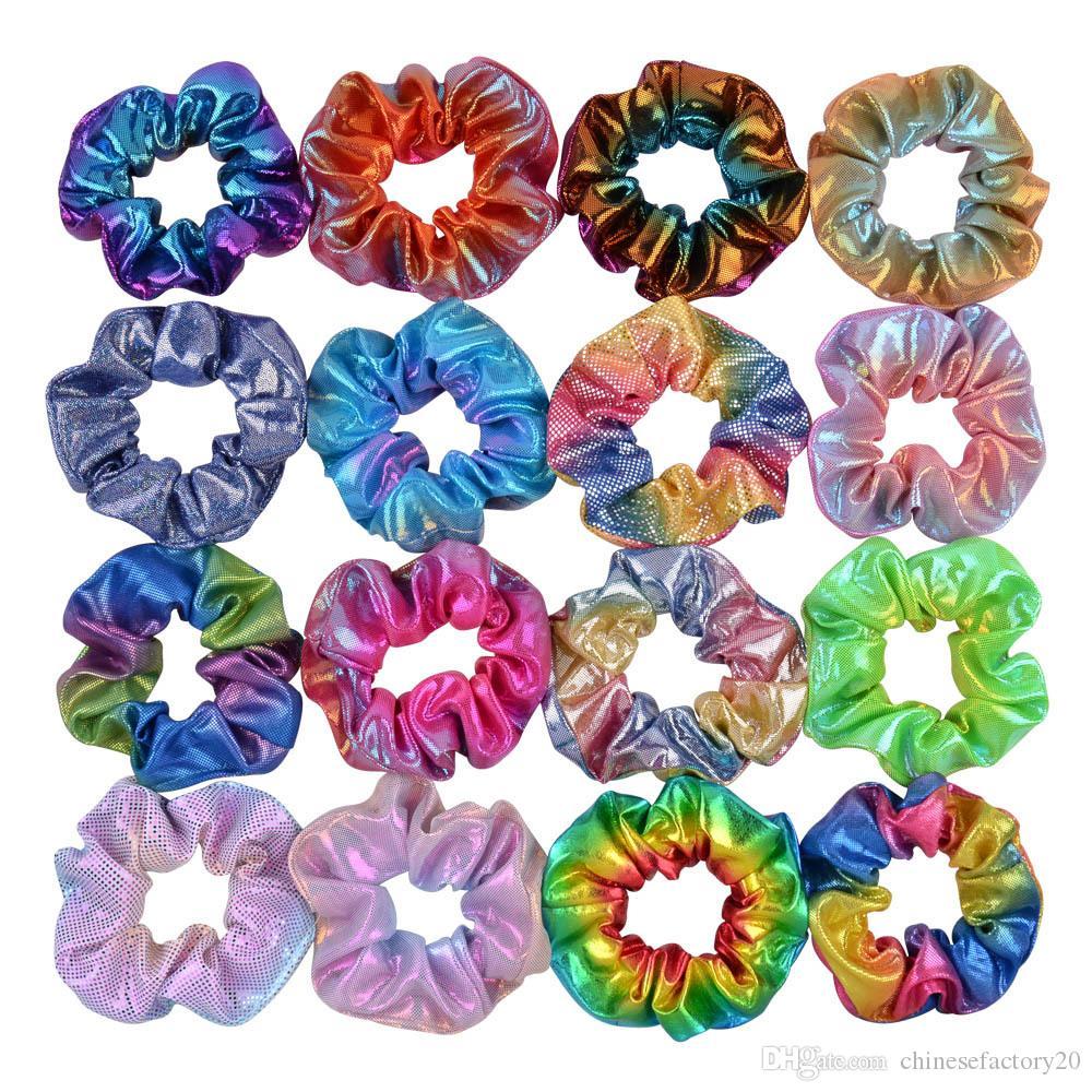 20 couleurs Titulaire de queue de queue de queue de cheval Scroucheux élastiques Bandes de poils laser élastiques Scroucheux Bands de poils attachés cordes pour femmes filles