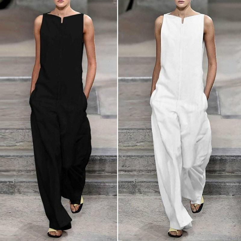 Nice Summer Jumpsuit Women Loose O Neck Holiday Jumpsuits Casual Sleeveless Pockets Solid Retro Female Rompers