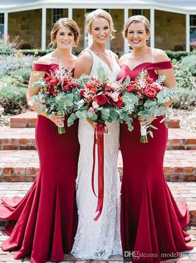 Elegant Mermaid Long Bridesmaid Dresses 2019 Off Shoulder Sweep Train Simple Chic Wedding Guest Dress Modern Cheap Maid Of Honor Gown Custom