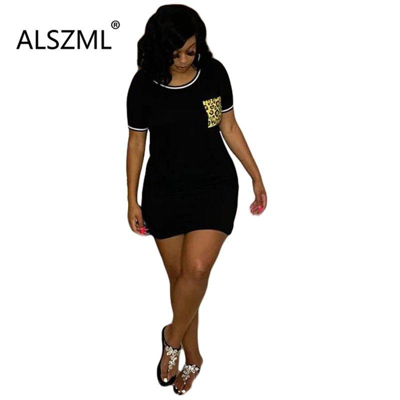Leopard Patchwork dünnes Minibleistiftkleid Großhandel heißen Verkauf Sommerkleid klassische Straße beiläufige Dame lange T-Shirt
