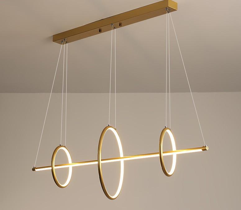 Acrílico preto ou ouro nórdico LED Candelabro Luz Rodada Anel longo de Iluminação Lâmpada de suspensão para o restaurante Quarto Art Pendant Lamps LLFA