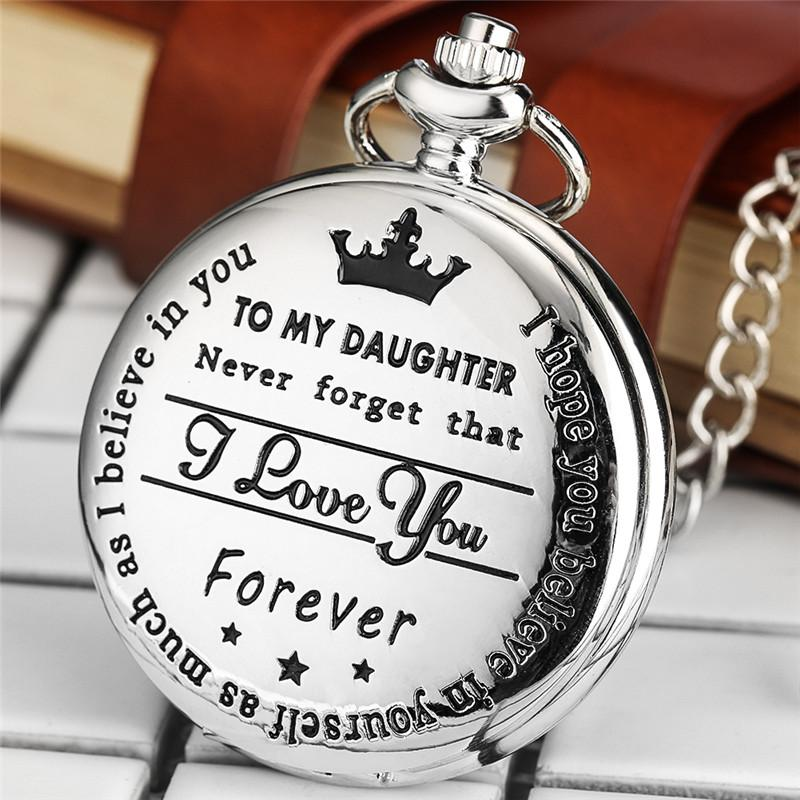 "Montres Vintage Argent Black Gold ""À ma fille"" Je t'aime Laser Word Girl Girl Analog Quartz Pocket Watch FOB Pendentif Chaîne Enfants Cadeaux"
