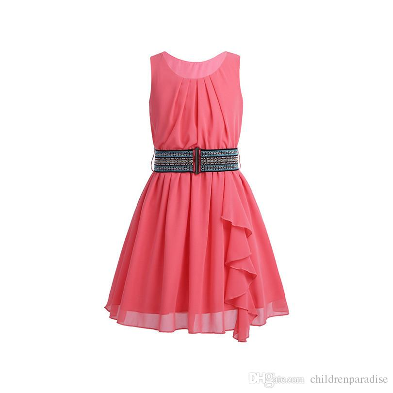 Kids Girls Children Summer Dress Chiffon Pleated Ruffled Party Birthday Dress with Belt for Summer Casual Daily Clothes