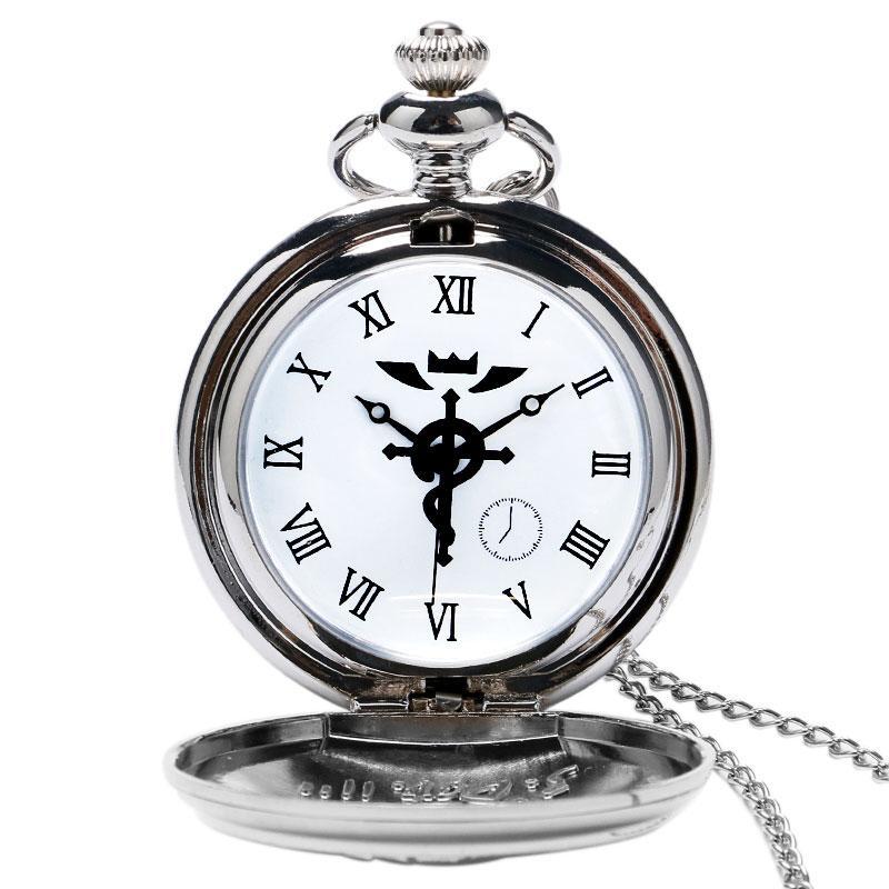 2020 tono de plata / bronce cadena collar colgante de Fullmetal Alchemist cosplay reloj de bolsillo de Edward Elric animado Diseño Muchachos mejor regalo