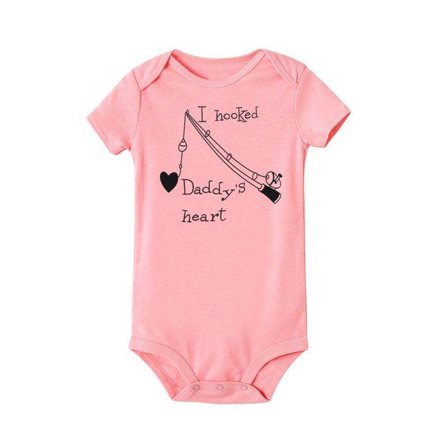 Newborn Bodysuit Infant Baby Boy Girl Cotton Short Sleeve Body Jumpsuit I Hung Dad Heart Clothes Summer Cute Baby Onesie