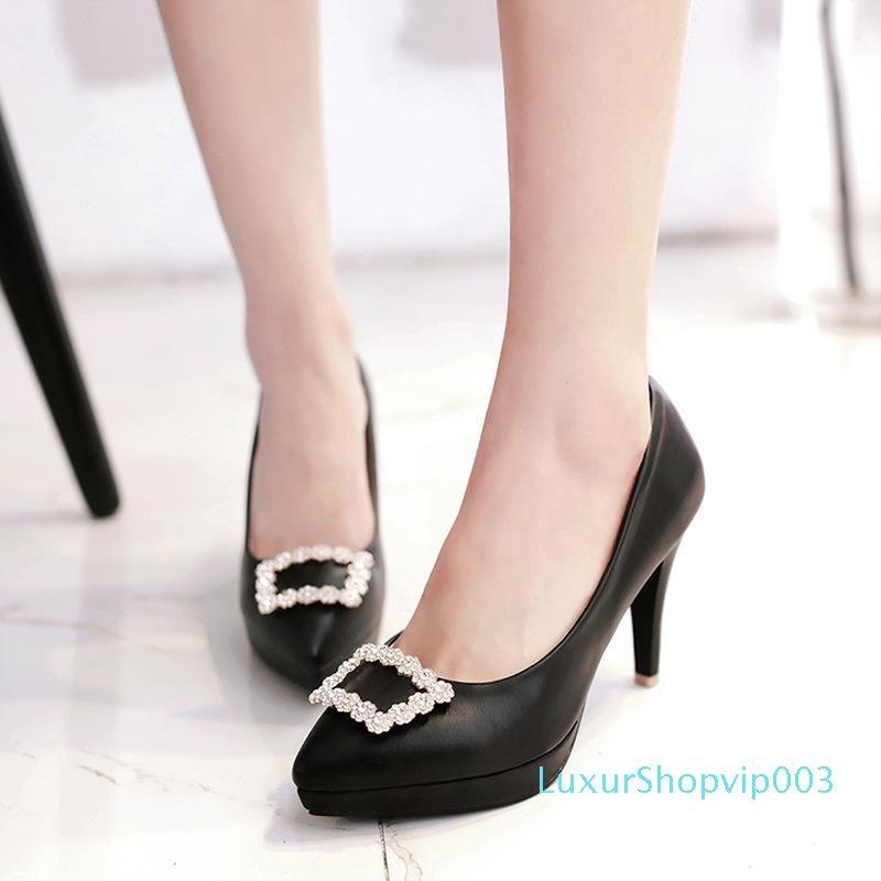 Sexy2019 de Sharp printemps strass boucle en métal peu profonde Bouche Simple Chaussure imperméable compensées à talons hauts F37 Chaussures