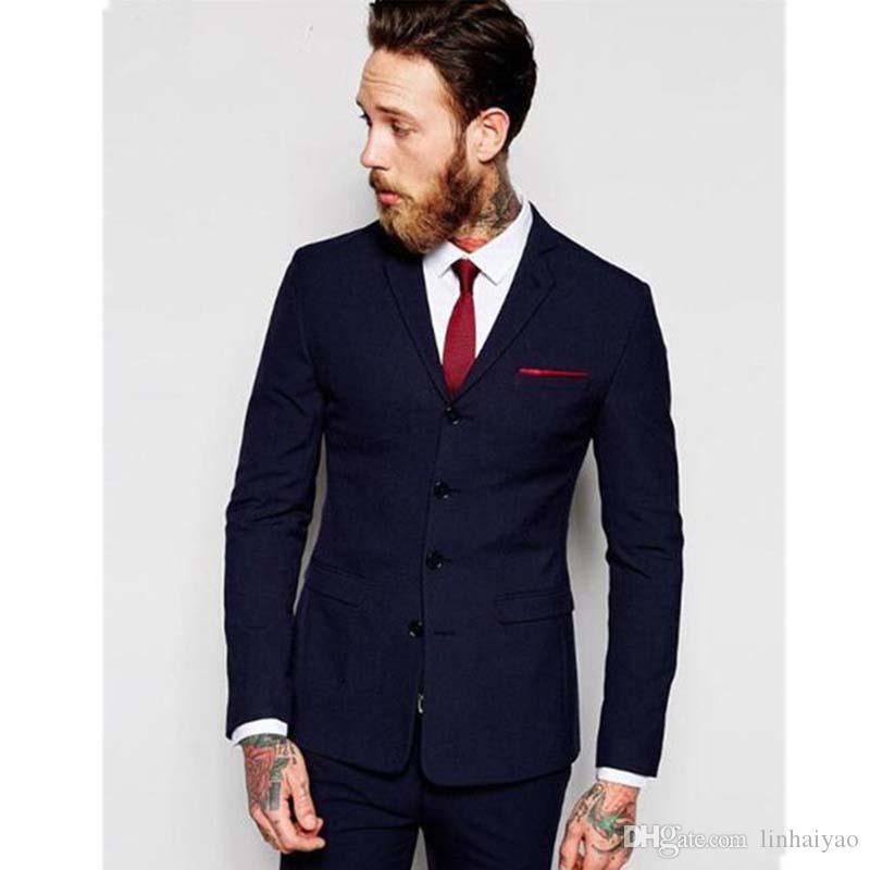 Moda 4 Düğmeler Erkek kostüm homme Biçimsel Smokin İyi Erkek Wedding Suit 2 adet Parti Balo Wear Suits (Ceket + Pantolon + Kravat)