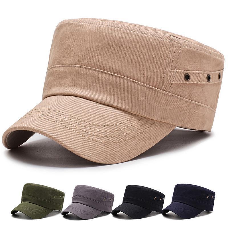 2020 Nueva Y del algodón del otoño invierno del sombrero de copa plana simple color sólido hombres de la manera militares sombrero de los deportes al aire libre Escalada Sombrero mrmbH