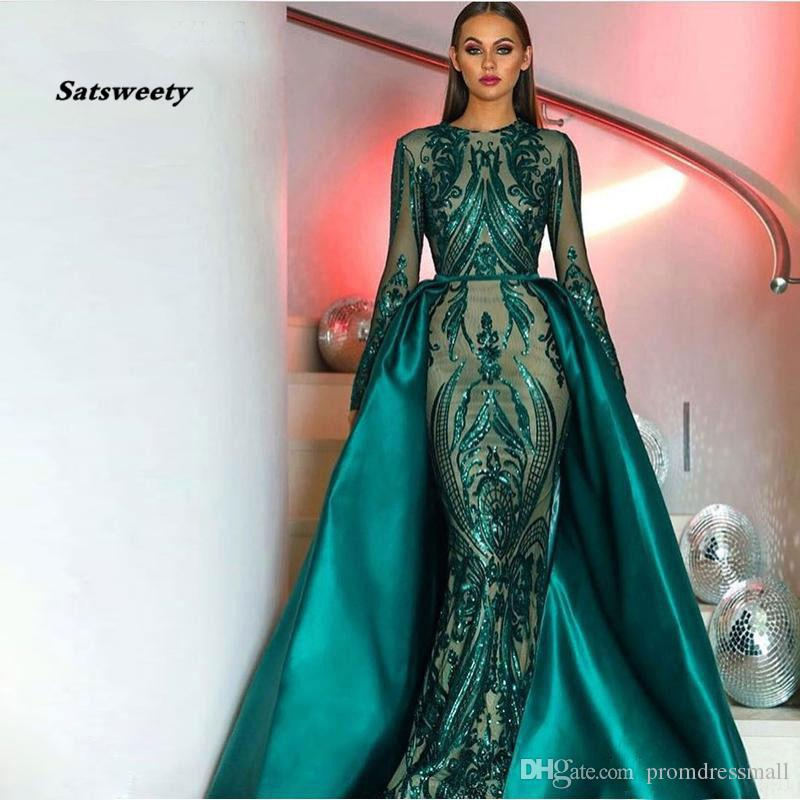 venta caliente elegante musulmanes verde de manga larga vestidos de noche con lentejuelas de Bling tren desmontable marroquí Kaftan vestido formal del partido