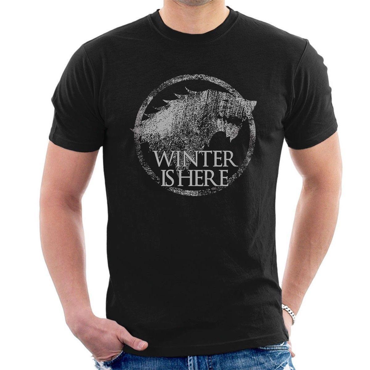 Kış Burada Stark Olduğunu T Gömlek Gece Kral Jon Kar Got Oyun Thrones Inspired Serin Rahat Gurur T Gömlek Erkekler Unisex Yeni Moda