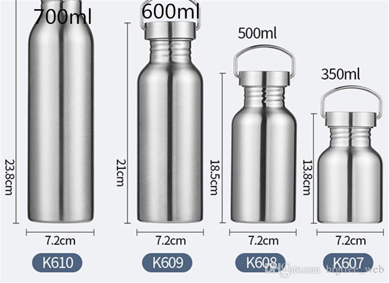 12 oz 16 oz 20 oz 25 oz Deportes botella de agua de 1 capa de acero inoxidable vaso de la taza del viaje termo Deportes Caldera de café