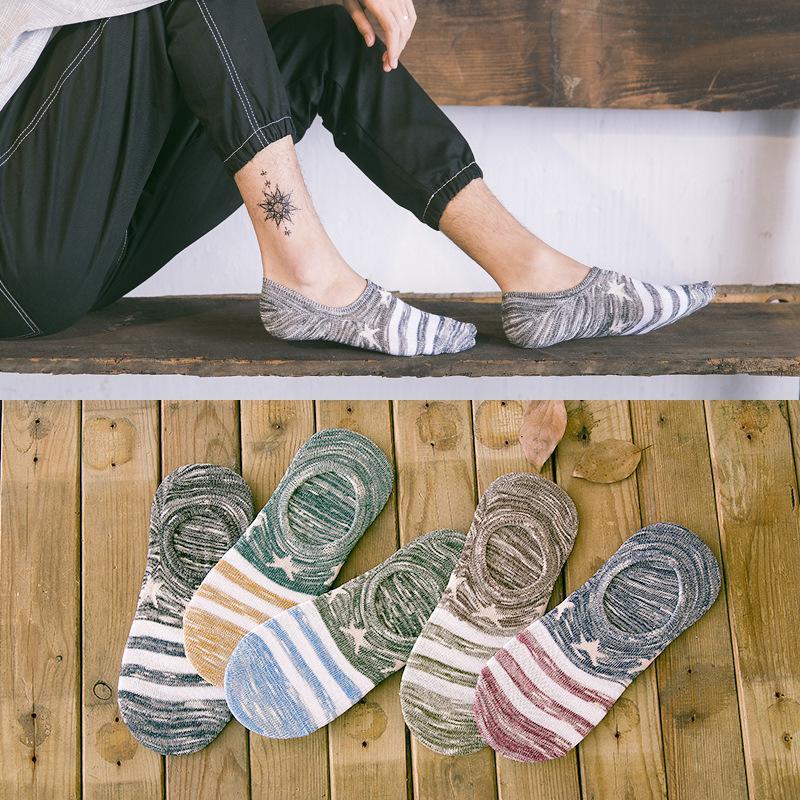 Calcetines Cotton Socks Primavera Verão Homens Silica Gel anti-derrapante estrelas de cinco pontas listrado Prints respirável Arrefecer Barco Sock Meias