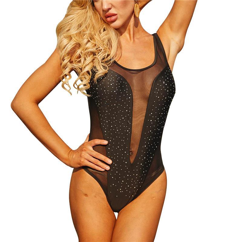Frauen Badeanzug reizvolle Ineinander greifen Patchwork Backless Badebekleidung Art und Weise Diamant-Badeanzug Bikini Weibliche Bademode Monokini 050520