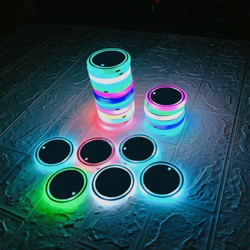 Фары автомобиля СИД 7 цветов Изменения USB зарядных Cup Mat Люминесцентные Pad G6KC