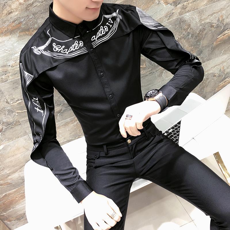 Camisas dos homens Camisas Britânicas Camisa Masculina Moda Homens Roupas 2021 Primavera Camisa de Manga Longa Camisa Slim Fit Patchwork Design Casual Mens